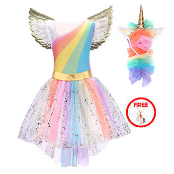 Girls Unicorn Costume Princess Dress New Girls Prom Cosplay Tutu Dress With Headband Summer Dresses for Girls dress 2020 new hit - DISCOUNT ITEM  36 OFF Mother & Kids