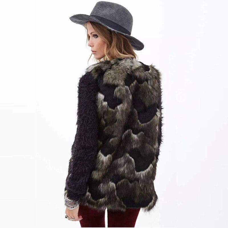 Aliexpress.com : Buy Women Fur Coat Faux Fur Vest Lady Mixed Color ...