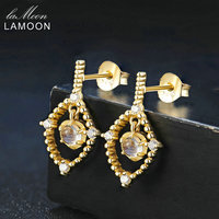 LAMOON Ligth Fine Jewelry Mulheres Engagement Brincos 4mm Natural Azul Moonstone 925 Corpo Brinco S925 Prata Esterlina