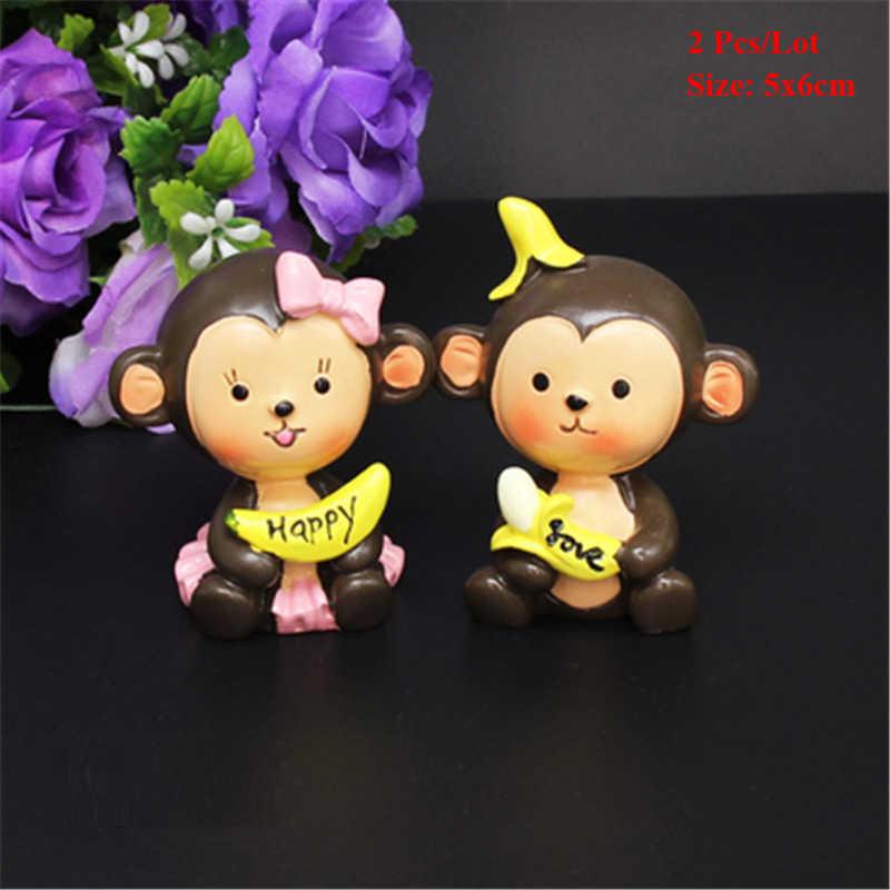 Feliz mono juguete pastel topper mono fiesta 1s 1 año cumpleaños decoraciones niños niñas bebé niños juguetes cupcake toppers