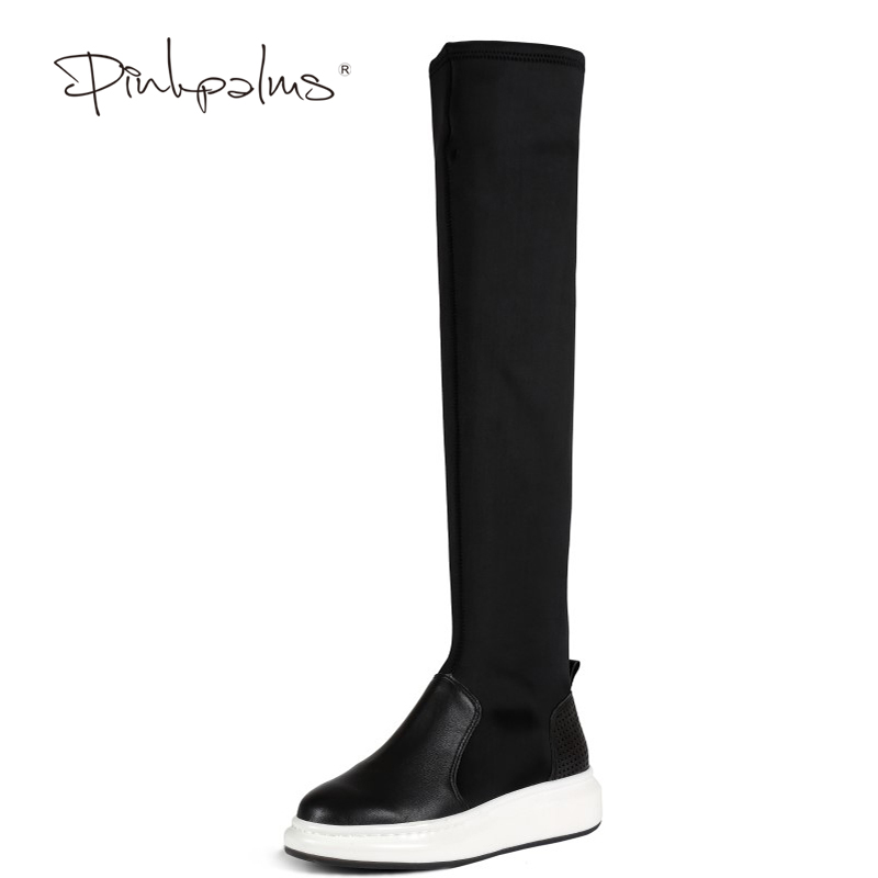 Pink Palms Women Shoes Autumn Winter Over the knee Boots Knee High thick sole Boots Women Leather boots рюкзак mi pac tropical palms tropical palms 081