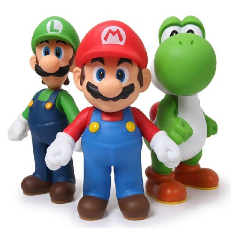 3pcs/lot <font><b>Super</b></font> <font><b>Mario</b></font> Bros Luigi <font><b>Mario</b></font> Action <font><b>Figure</b></font> PVC <font><b>Super</b></font> <font><b>Mario</b></font> <font><b>Figure</b></font> Model Doll 13cm <font><b>Figure</b></font> <font><b>Toys</b></font> For Children / Kid