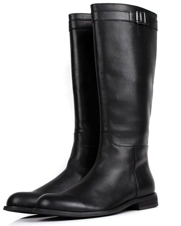 Grande taille EUR45 mince zipper genou haute hommes bottes en cuir véritable moto bottes mode hommes bottes d'hiver