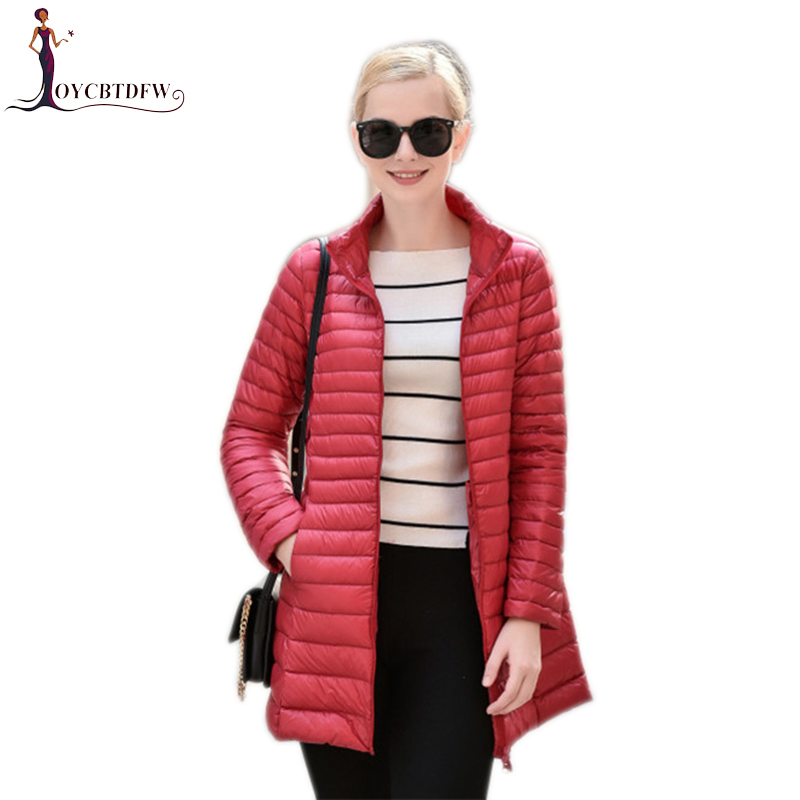 Winter women down jacket solid color plus size mid-long ladies overcoat Stand collar thin section warm female down jacket ll699