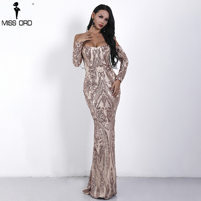 Missord 2018 Sexy bra Long sleeve  retro party dress sequin maxi dress FT18392
