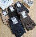Otoño e Invierno de los hombres de moda de color sólido guantes de punto masculino espesar térmica caliente negro de lana de punto guantes mitones