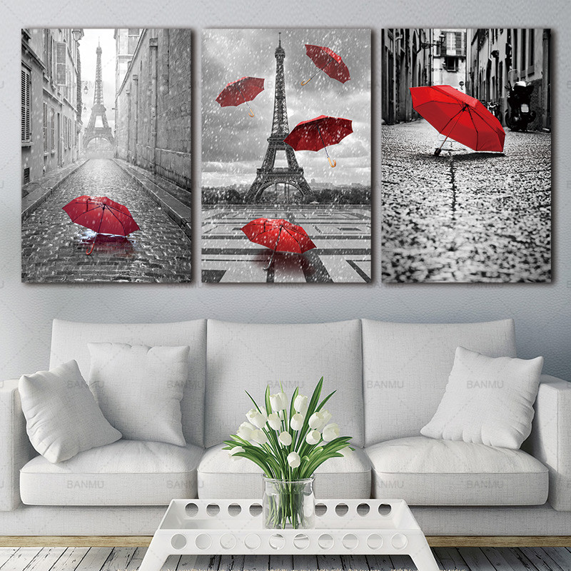 Painting Wall Art BANMU Black and White Tower with Red Unbrella Street Painting Decoration Picture Artwork Prints Canvas