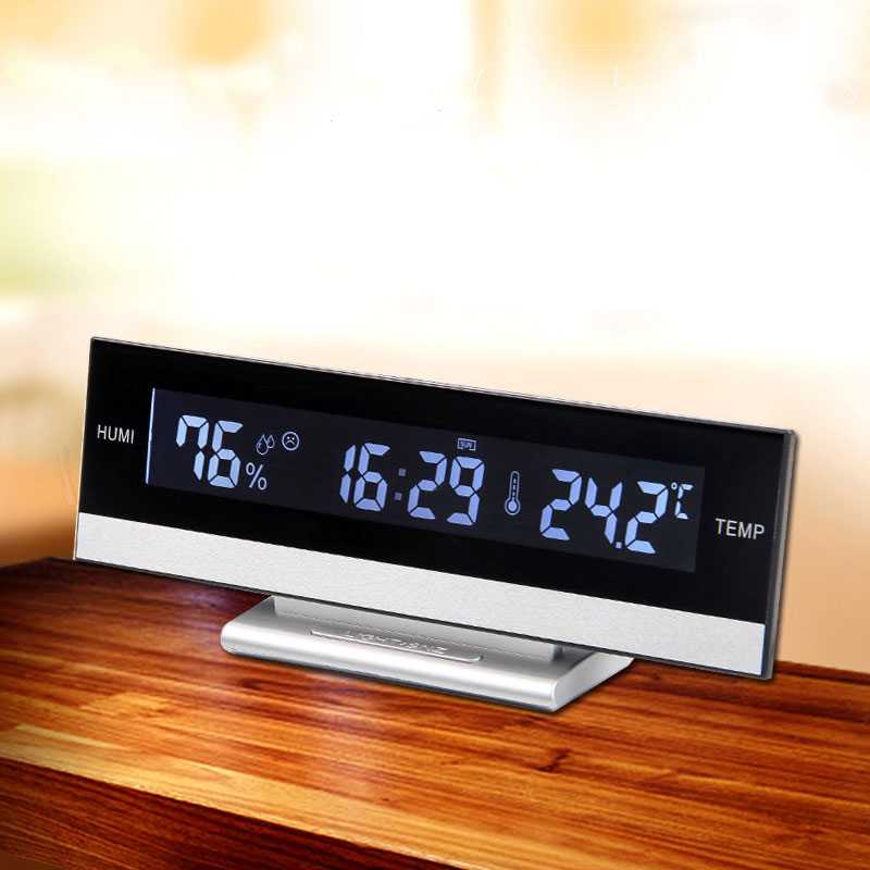 Desk European Temperature Humidity Clock Electronic Batter Home Digita LCD Big Large Screen LED Display Electronic Alarm Clock
