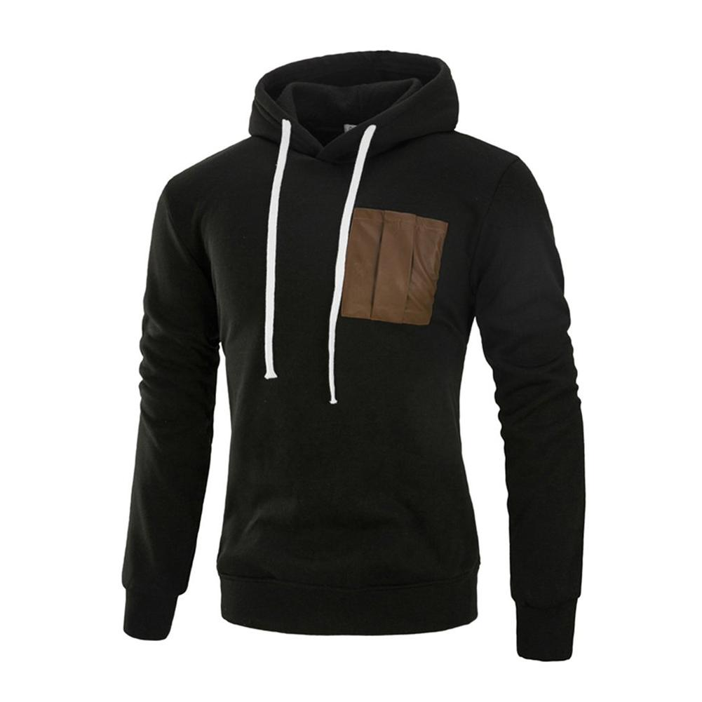 Men's Long Sleeved Hooded Hoodie Fashion Patchwork Warm Pullovers Sweatshirt