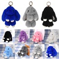 New Cute Bunny Rabbit Fur Keychain Phone Car Pendant Bag Handbag Charm Tag Mini Rabbit Toy Pom Pom Fluffy Dolls