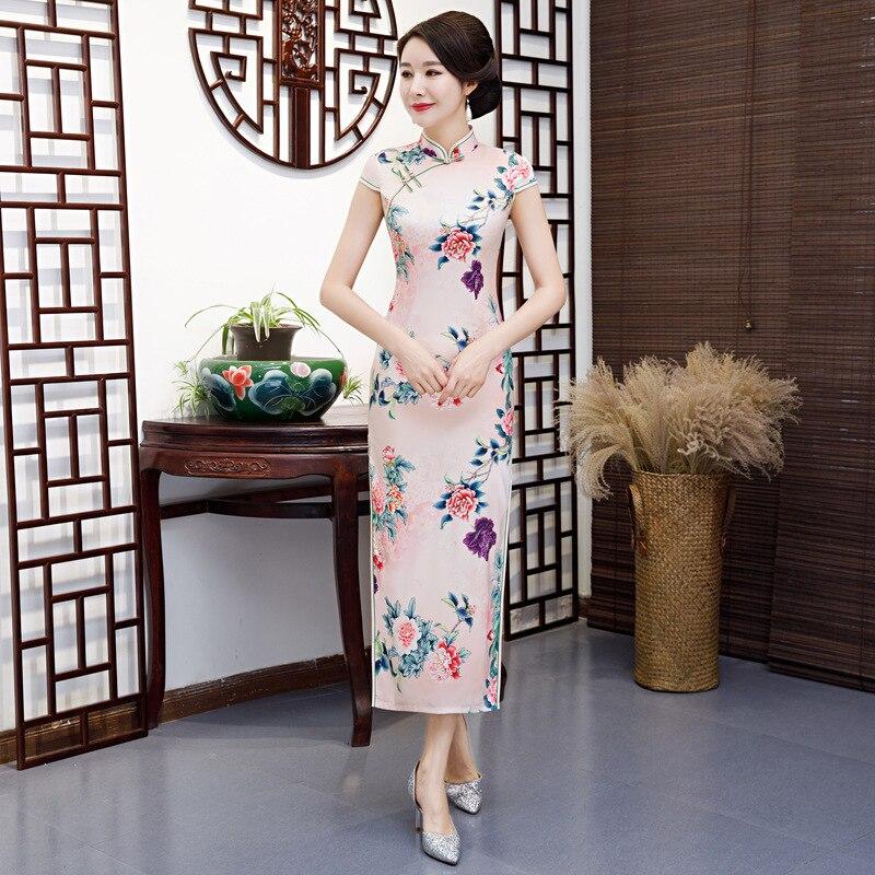 Pink Traditional Chinese Women's Elegant Long Qipao Printed Lady Qipao Silm Dress Oriental Female Cheongsam Sexy Dress Clothing