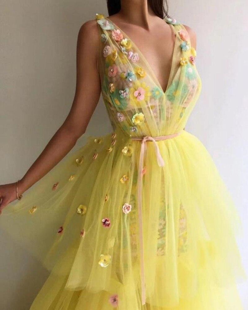 Желтый Тюль великолепные вечерние наряды Robe De Soiree Длинные вечерние платья V образным вырезом индивидуальный заказ цветочный торжественное ... - 2