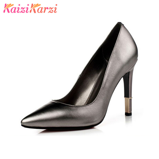 47e50e873845 KaiziKarzi women wedding real genuine leather high heel shoes brand sexy  heels fashion pumps heeled shoes size 33-42 R08689