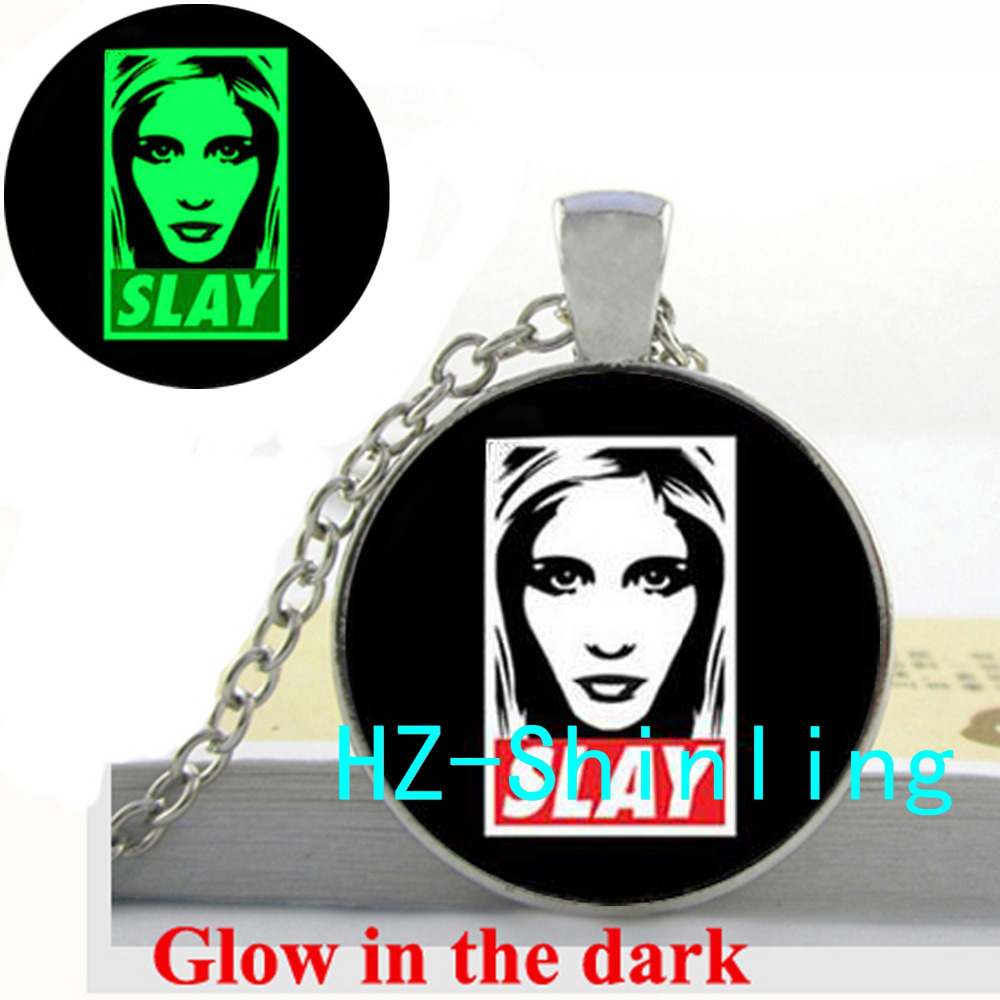 New Fashion Glow in The Dark Buffy The Vampire Slayer Necklace Slay Picture Jewelry Glowing Necklace Pendant