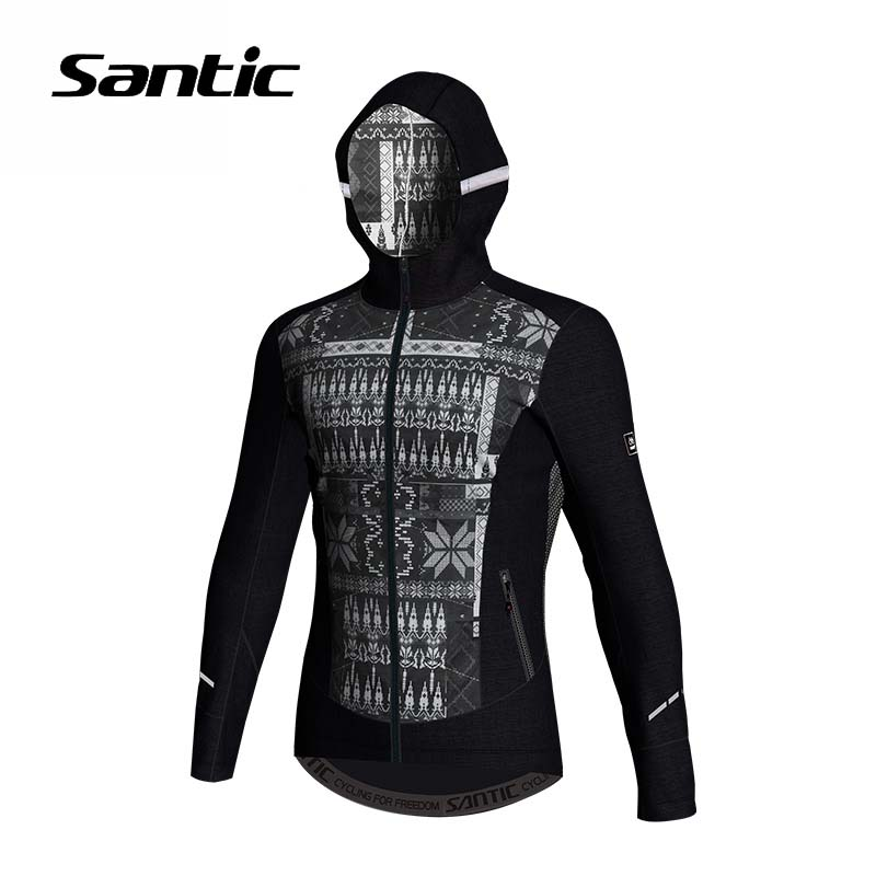 Santic Men Hooded Cycling Jacket Winter Fleece Warm High Quality Road Mountain Bike Jacket Wind Coat Windproof Bicycle Clothing