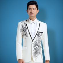 BOU The new 2017 singer MC set auger high-end men's costumes embroidered male host suit