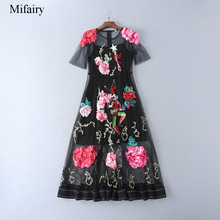 2017 S&S Black Sheer Lace Embroidery Long Women Dress Luxurious Solid Flowers Maxi Gown Milan Runway Gown D061711