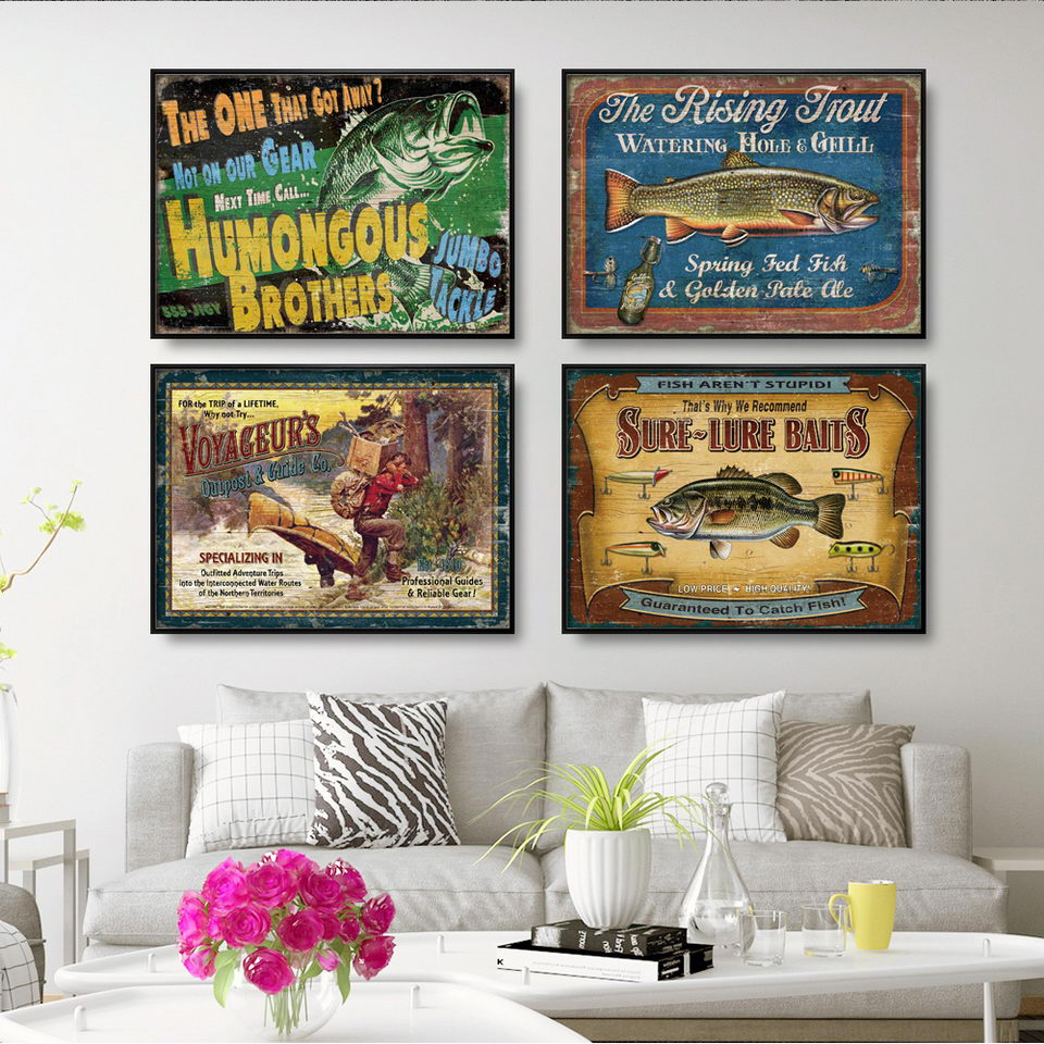 Retro alphabet animal fishing Canvas Wall Art  1