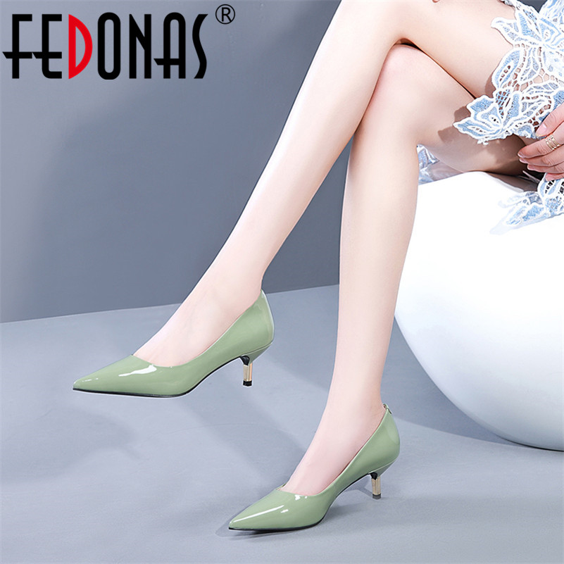 FEDONAS New 2019 Women Genuine Leather Pointed Toe Office Pumps High Heels Sexy Spring Summer Party