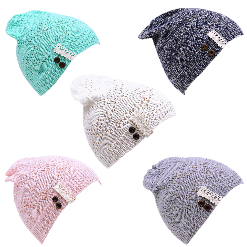 Fashion Leaves Hollow Out Lace Button Knitting Hat Women Winter Warm Thin Slouchy Beanies Knitted Cap Lady Girls Skullies 2017