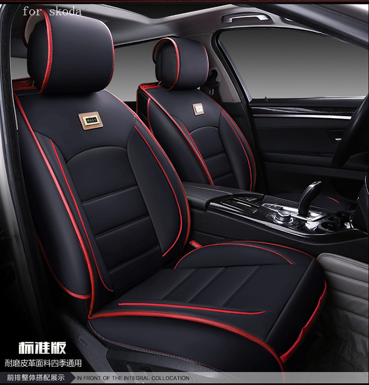 For skoda octavia 2 fabia rapid yeti beige red black waterproof soft pu leather car seat covers easy clean front &rear full seat ouzhi for skoda octavia 2 a7 fabia rapid yeti red brown brand designer luxury pu leather front
