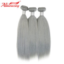 Ali Amazing Hair Straight Brazilian Hair Weave Bundles Grey Color Human Hair Extension Non Remy 100% Human Hair Bundles(China)