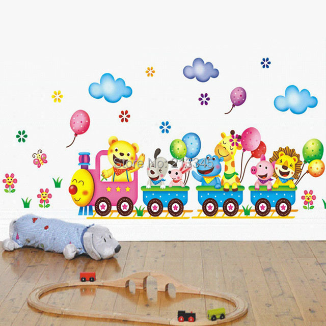 [Fundecor] children wall stickers cartoon animal train ...