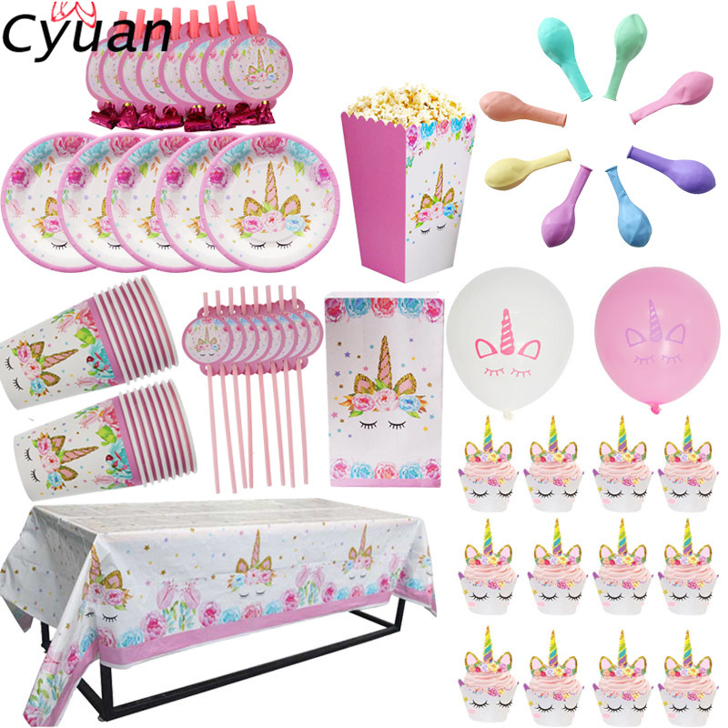 Online Shop Cyuan Unicorn Party Disposable Tableware Set Kids Birthday Party Paper Cup Plate Hat 1st First Birthday Party Decor Supplies | Aliexpress Mobile