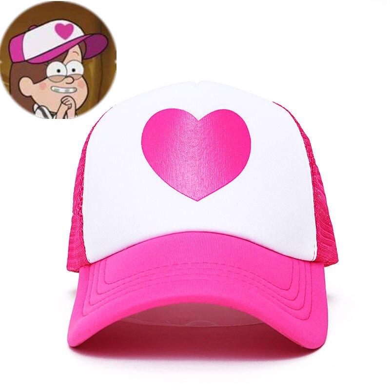 Women Cute Gravity Falls Dipper Mabel Rose Heart Mesh Summer Caps Girl Cool Net Mesh Trucker Hat Cap Summer