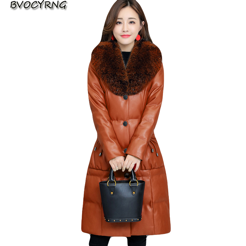 New Winter Pu   Leather   Jacket Women Winter Thicken Down Coat High Quality Sheepskin Fox Fur Collar Plus Size Female Outerwear