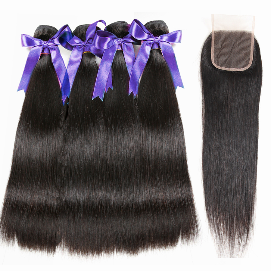 Karizma peruvian straight hair 4 bundles with closure free part 100 human hair weave non remy