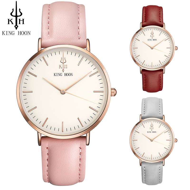 KING HOON Women Watches 2017 Top Sale Stainless steel / Leather Strap Slim Rose gold Quartz Watch Casual Clock Montre Femme julius women watches silver rose gold tone mesh stainless steel quartz analog waterproof watch casual female clock montre femme