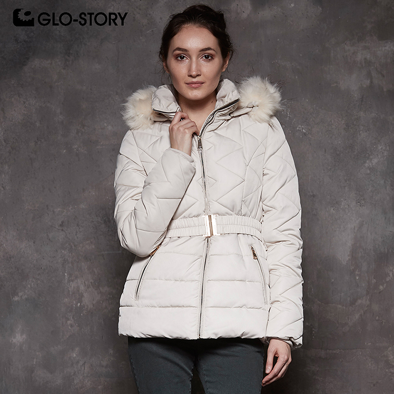 GLO-STORY Shipped From EU Women 2018 Fashion Wool Liner Thick Warm Fur Hoodie   Parkas   Woman Adjustable Belt Winter Jackets Coats