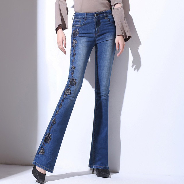 accf6bdb3b6c US $26.78 49% OFF|2019 sommer Hohe Taille Gestickte Flare Jeans Frauen  Cowboy Lange Hosen Weibliche Dünne Breite Bein Gerade Denim Jeans Feminino  ...