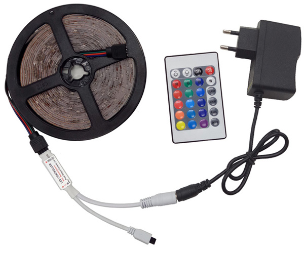 ZAHORIO LED Strip Light RGB LED 5050 SMD 2835 Flexible Ribbon RGB Stripe 5M 10M 15M tape diode DC 12V+Remote Control+ Adapter EU10