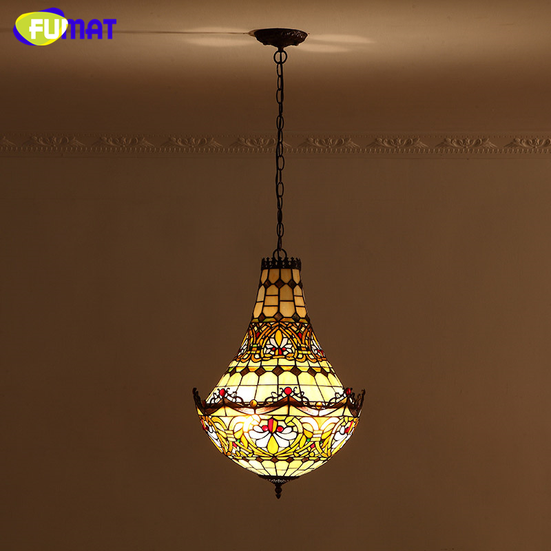 FUMAT Stained Glass Chandeliers European Style Glass Art  Lights Living Room Dining Room Classic Lamp Tiffany Baroques Lamparas fumat stained glass pendant lamps european style glass lamp for living room dining room baroque glass art pendant lights led