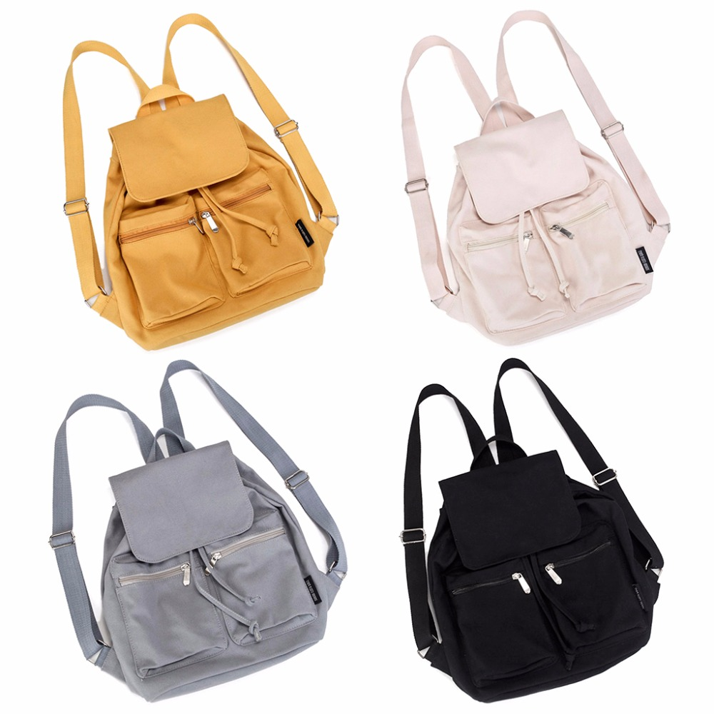 THINKTHENDO Cute Candy Colors School Bag Travel Canvas Casual Backpack For Women Teenager Female Girls