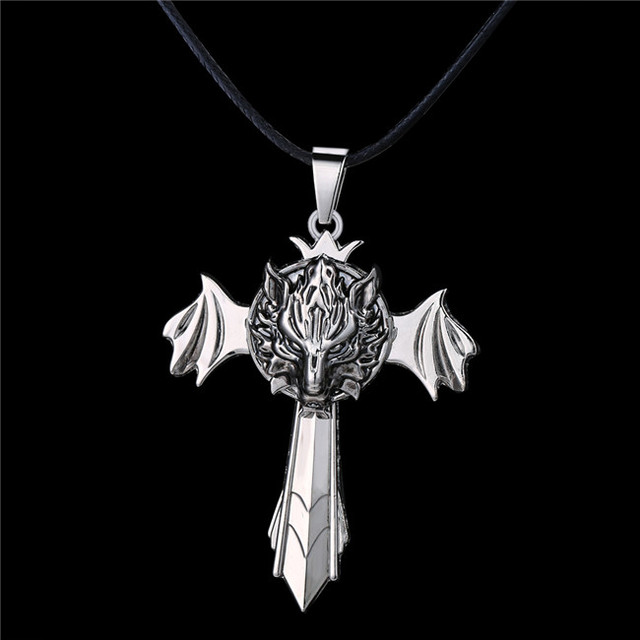 Mj jewelry cosplay anime cartoon final fantasy wolf pendant mj jewelry cosplay anime cartoon final fantasy wolf pendant necklace sword wings rotatable quality mozeypictures Image collections