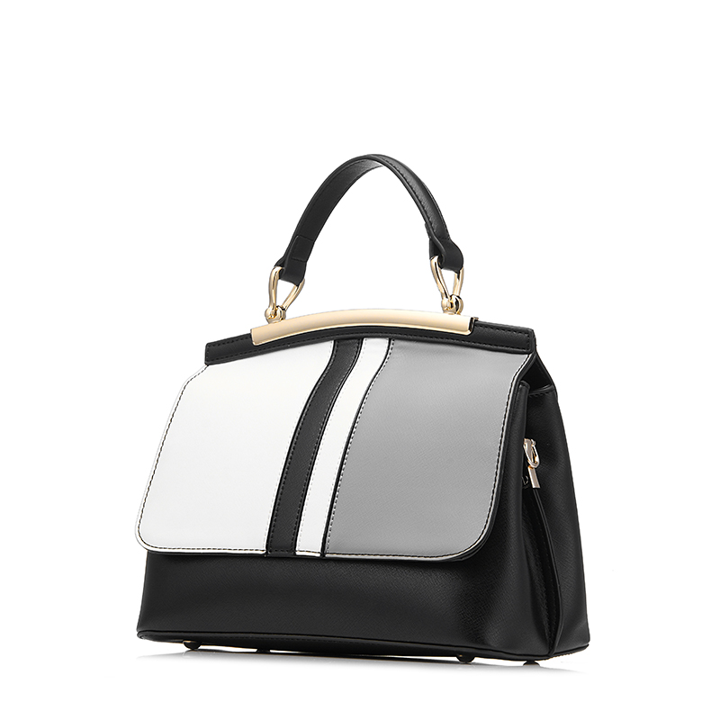 ФОТО REALER brand new women handbag black and white stripe tote bag female shoulder bags high quality PU leather purse handbags