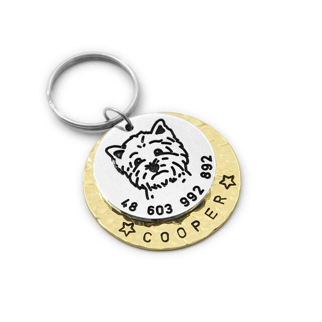 custom westie dog tag engraved dog tag personalized pet id tag