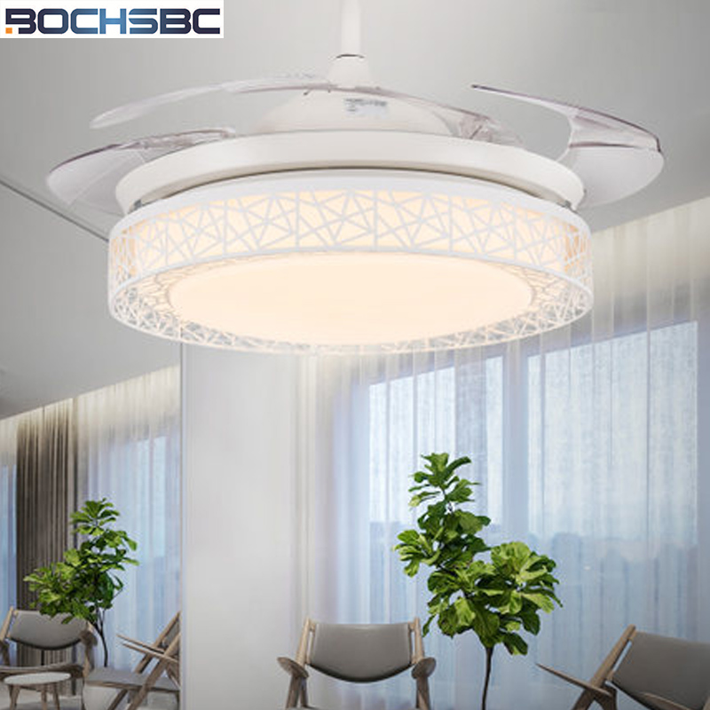 BOCHSBC Invisible Ceiling Fan Light For Bedroom Living Room Dining Room Fan Lights With Modern Simple Minimalist Bird Nest LED