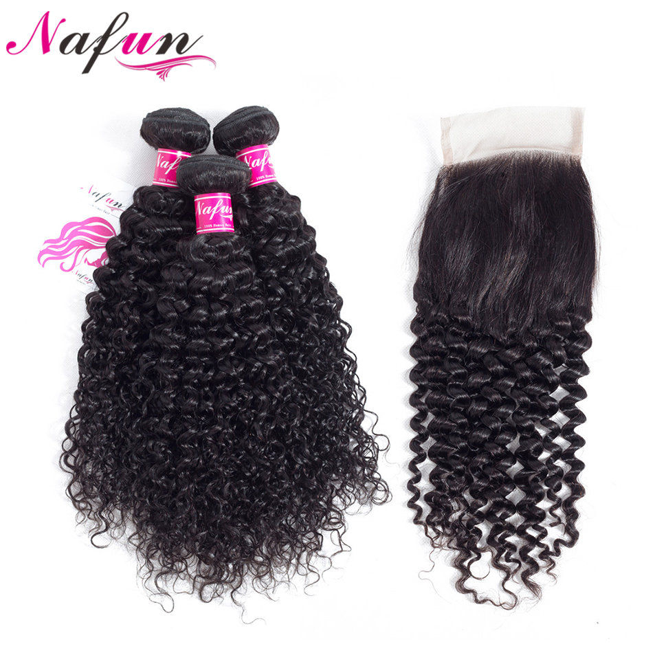 NAFUN Hair Peruvian Human Hair Bundles With Closure Kinky Curly Hair Weave Bundles Non Remy Natural Color 3 Bundles With Closure