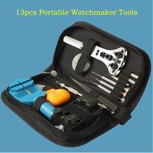 2016 el envío gratuito 13 unids portátil herramientas de relojero removedor del Pin ajustador abrelatas de la caja de pulsera Wrist Watch Repair Tool Set Kit herramientas de bricolaje