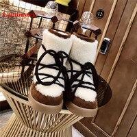 Hiver Bottines Femme/белые женские зимние ботильоны с круглым носком, на шнуровке, с коротким плюшем, теплые уличные хлопковые ботинки с перекрестной