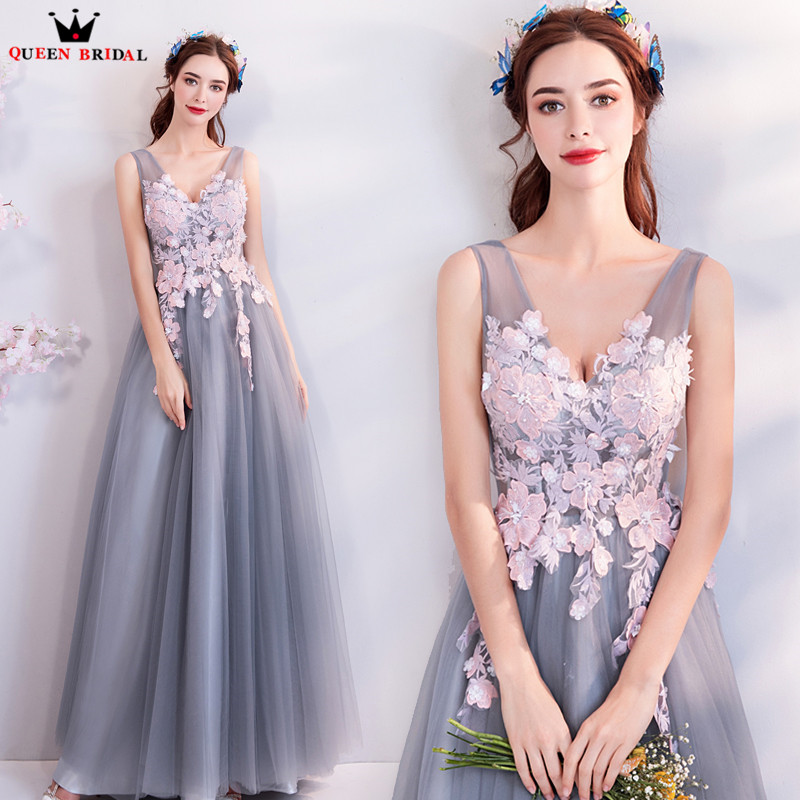A lin Lace Tulle Flowers Beading Gray Long Formal Evening Dresses 2018 New Prom Party Dress Evening Gowns Robe De Soiree NT64