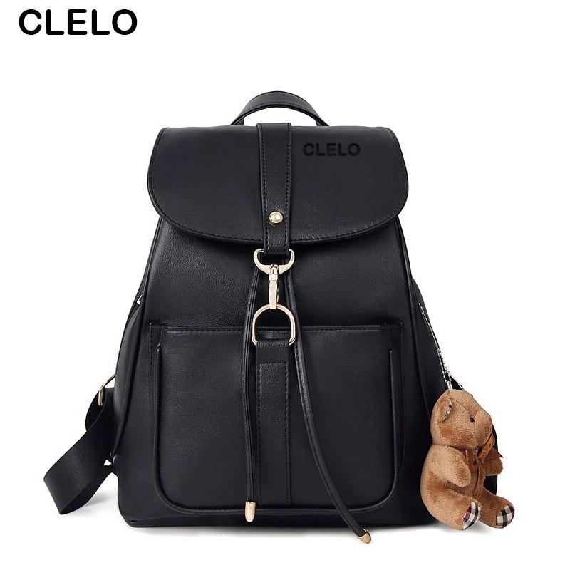 CLELO 2017 new fashion Backpack Women Ladies PU Backpack School Fashion Black Bags Vintage Waterproof Backpack