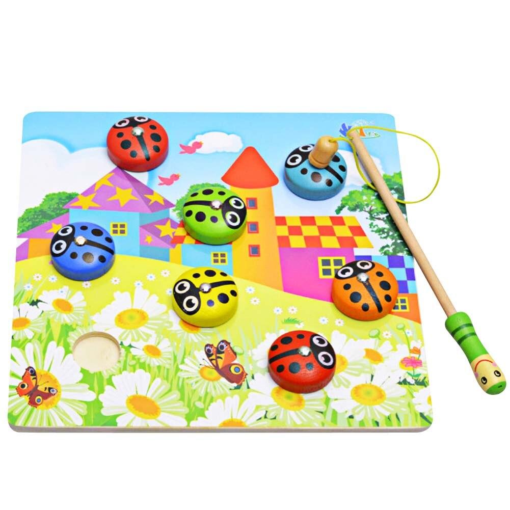 1 шт. поезд ребенка-моторную координацию деревянные родитель-ребенок развивающие игрушки для детей Рыбалка игрушка Божья коровка Рыбалка и...