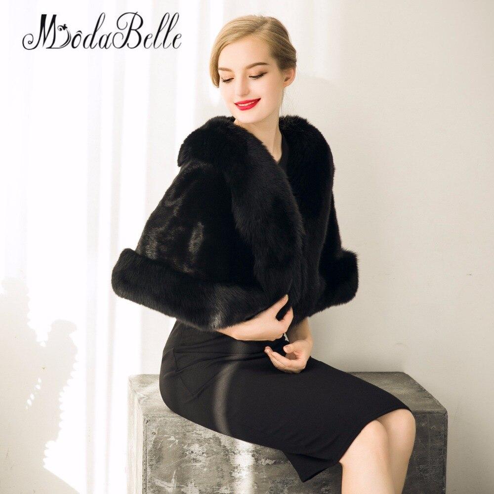 Черный искусственный мех палантин Болеро зимнее пальто для свадьбы для женщин выпускного вечера Шали накидка Свадебная пиджак Свадебные накидки и болеро
