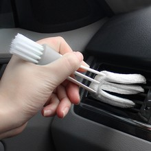 VODOOL Double Ended Car Cleaning Brush Air Conditioner Vent Slit Clean Brush Detailing Dust Removal Blinds Keyboard Duster Brush(China)