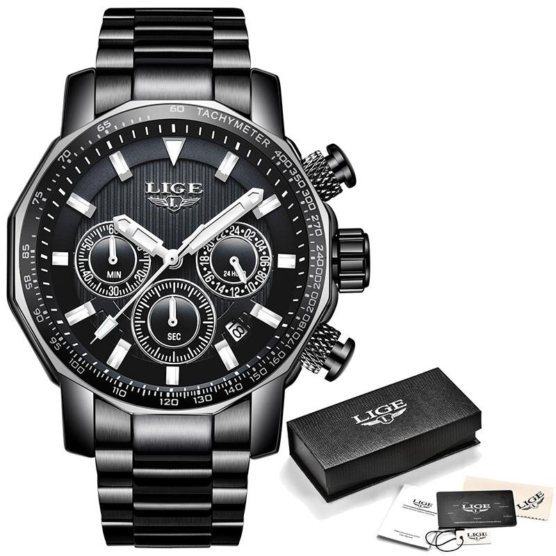2018 New LIGE Fashion Men 39 s Watches Luxury Brand Business Quartz Watch Men Sport Wristwatches Big Dial Male Waterproof Watch Box in Quartz Watches from Watches